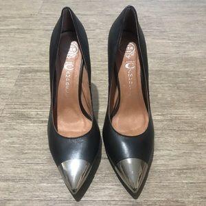 Jeffrey Campbell black stilettos w/ metal tips